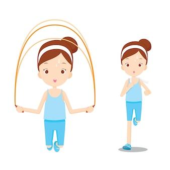 Linda garota se exercitando para um bom bem-estar, corrida, pular corda