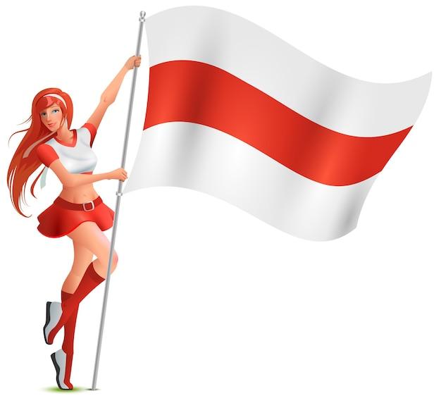 Linda garota segurando a bandeira branco-vermelho-branca da bielorrússia. símbolo tricolor de protesto bielorrusso. isolado em desenho branco
