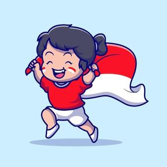 Linda garota segurando a bandeira indonésia ilustração vetorial ícone dos desenhos animados. conceito de ícone de férias de pessoas isolado vetor premium. estilo flat cartoon