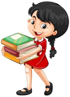 Linda garota segurando livros