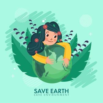 Linda garota segurando o globo da terra com folhas sobre fundo verde para salvar o conceito de terra e meio ambiente.