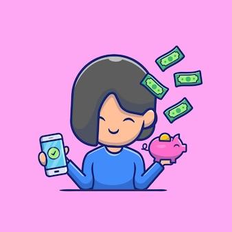 Linda garota segurando o telefone e o cofrinho com ilustração do ícone dos desenhos animados de dinheiro. conceito de ícone de investimento de pagamento online isolado. estilo flat cartoon
