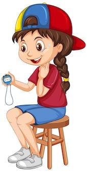 Linda garota sentada em uma cadeira segurando o cronômetro
