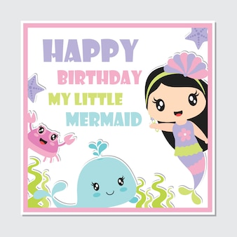 Linda garota sereia e criaturas do mar frame para cartão de aniversário