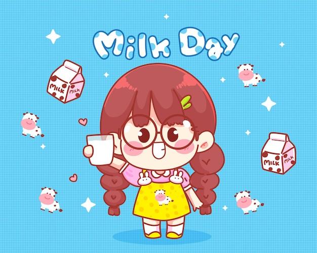 Linda garota sorrindo, segurando um copo de leite, ilustração do dia do leite.