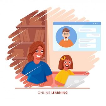 Linda garota tendo aprendizagem on-line com laptop em casa e jovem livro escrito sobre fundo abstrato para parar o coronavirus.