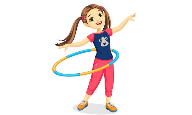 Linda garota tocando bambolê