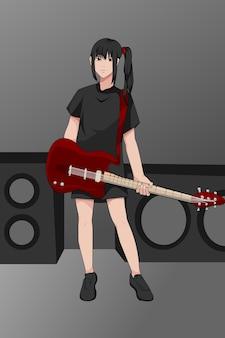 Linda garota tocando guitarra, desenhando
