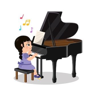Linda garota tocando instrumento de piano