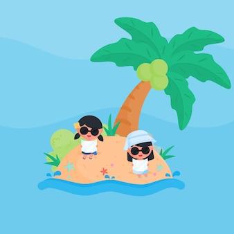 Linda garota tomando banho de sol usar óculos de sol na praia no verão design plano estilo cartoon vetor