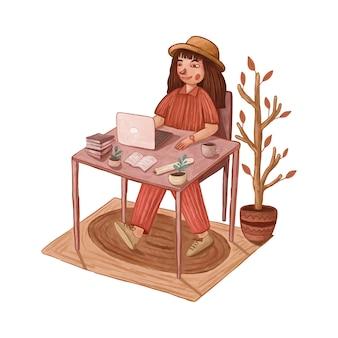 Linda garota trabalhando em um laptop