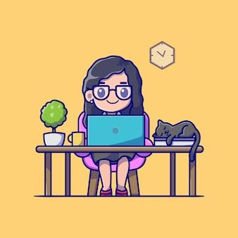Linda garota trabalhando no laptop com ilustração de gato