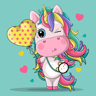 Linda garota unicórnio com balões de coração cartoon ilustração de mão desenhada