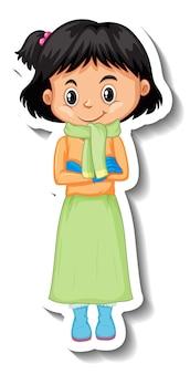 Linda garota usando roupas de inverno com lenço