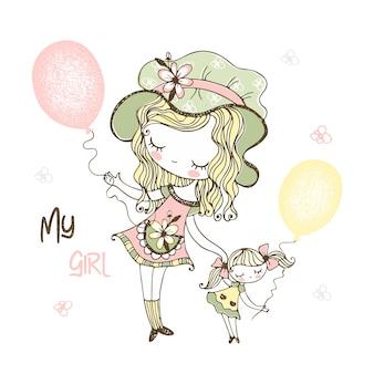 Linda garota usando um chapéu com sua boneca e balões.