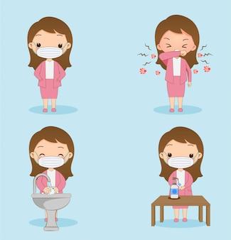 Linda garota usando uma máscara de lavar as mãos e usar gel alcalino para evitar o vírus