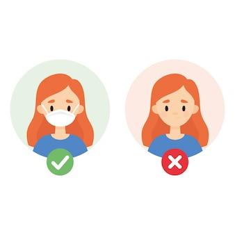 Linda garota usando uma máscara facial. conjunto de duas imagens mostrando como evitar a propagação de vírus e bactérias.