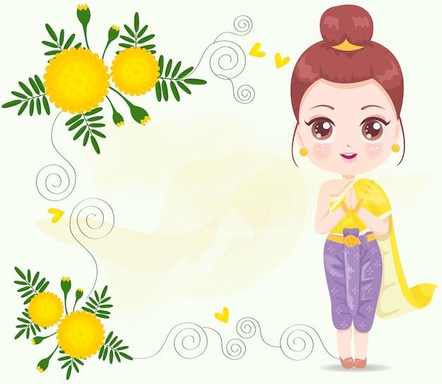 Linda garota usando vestido amarelo tailandês
