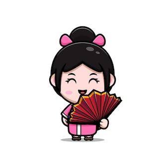 Linda garota usando vestido de quimono com ilustração em desenho animado de leque de mão