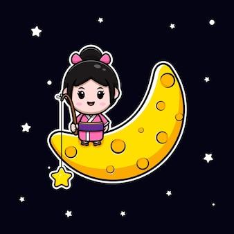 Linda garota usando vestido de quimono sentada na lua e pegando a estrela dos desenhos animados