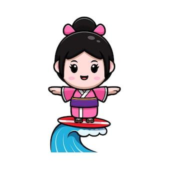 Linda garota usando vestido de quimono surfando na ilustração dos desenhos animados da praia