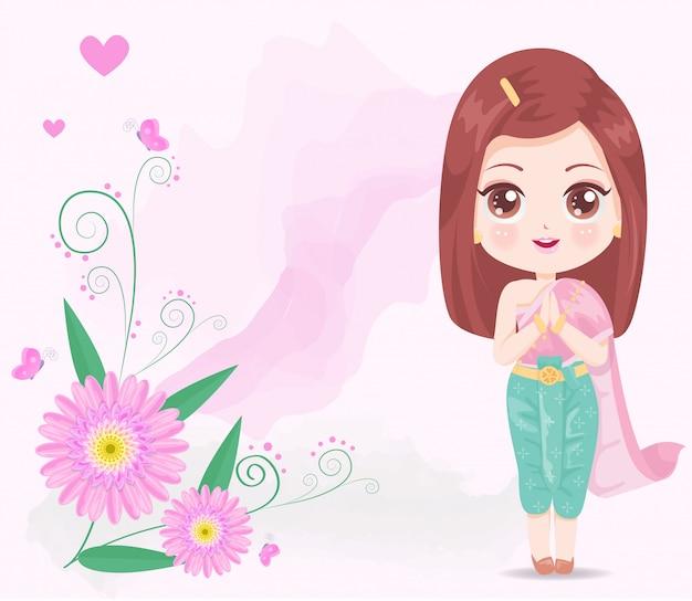 Linda garota usando vestido rosa tailandês