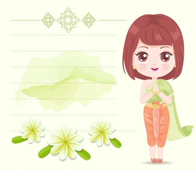Linda garota usando vestido verde tailandês