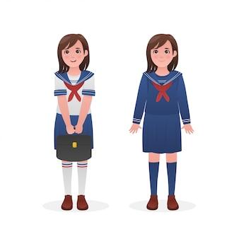 Linda garota vestida de marinheiro japonês uniforme design de personagens