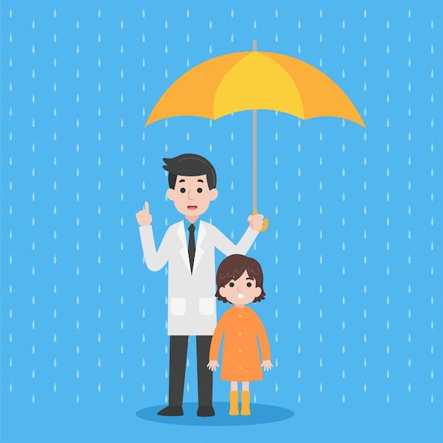 Linda garota vestindo capa de chuva laranja com médico segurando guarda-chuva amarela