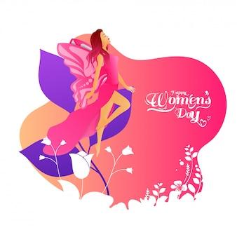 Linda garota vestindo fantasia de fada com flores e folhas decoradas em abstrato para a celebração do dia da mulher feliz.