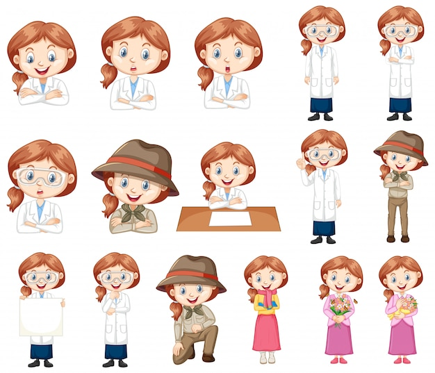 Linda garota vestindo roupas diferentes