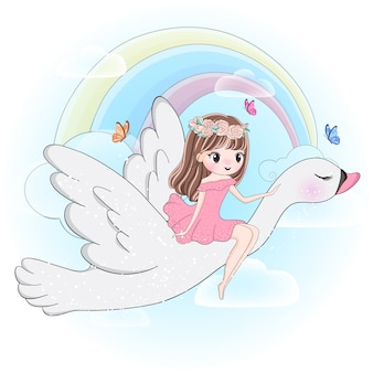 Linda garota voando com cisne