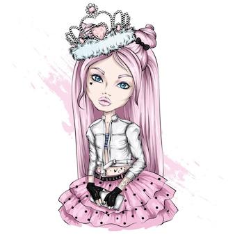 Linda garotinha com roupas elegantes
