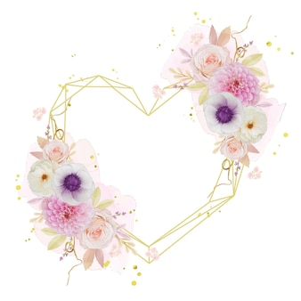 Linda grinalda floral com aquarela dália rosa e flor de anêmona