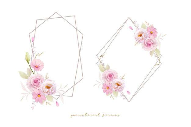 Linda grinalda floral com aquarela rosas cor de rosa