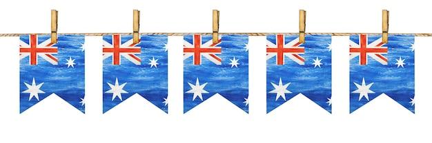 Linda guirlanda com pequenas bandeiras australianas.