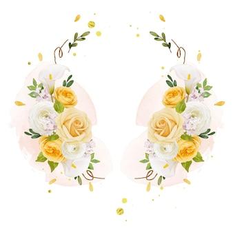 Linda guirlanda floral com aquarela lírio rosa amarelo e flor de ranúnculo