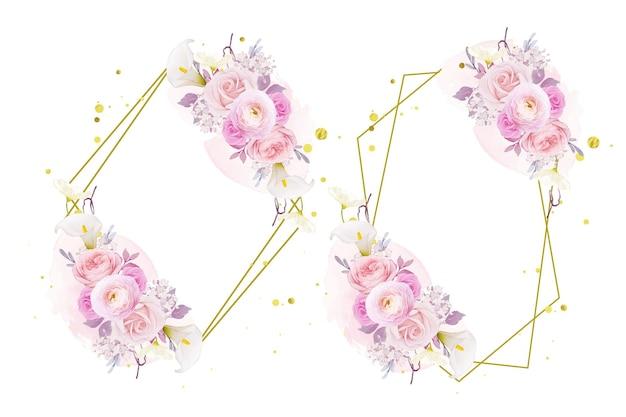 Linda guirlanda floral com aquarela lírio rosa rosa e flor de ranúnculo