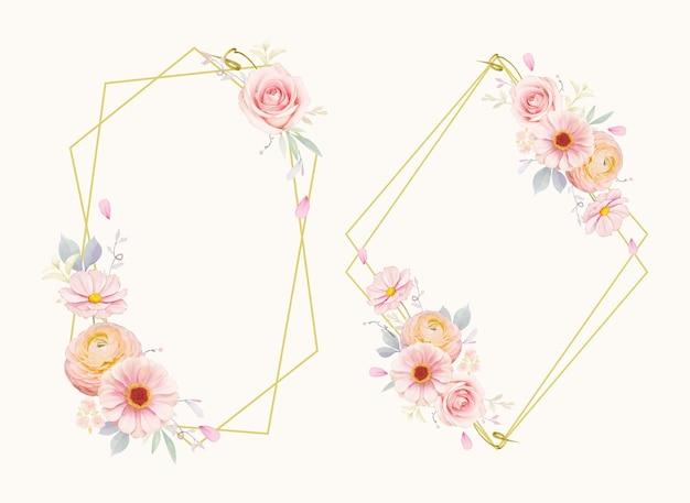 Linda guirlanda floral com aquarela rosas cor de rosa e flor de ranúnculo