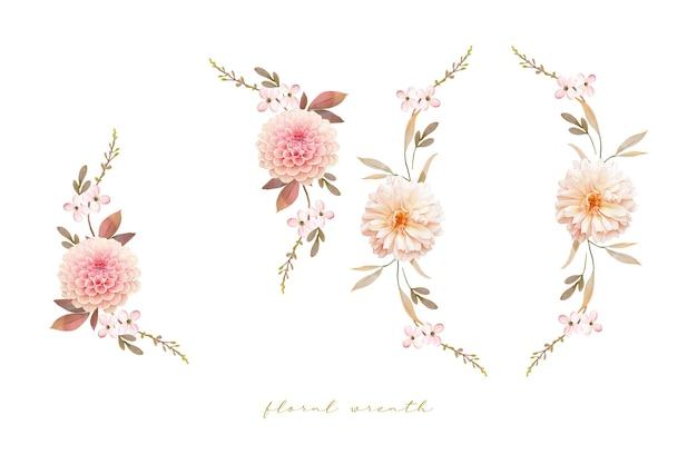 Linda guirlanda floral com dálias em aquarela