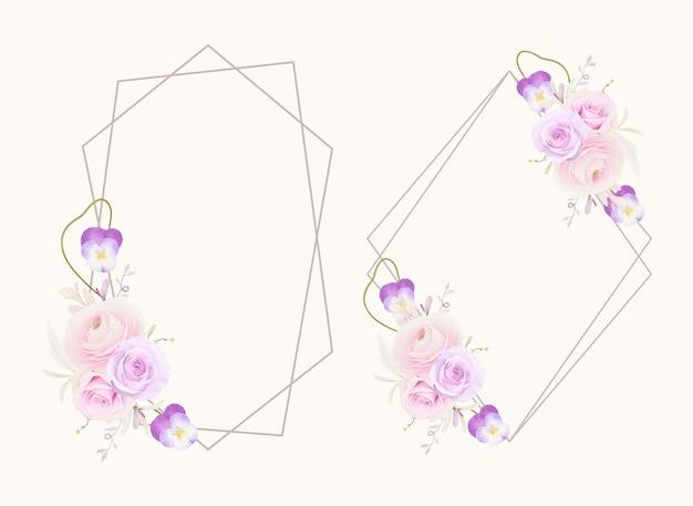 Linda guirlanda floral com ranúnculo de rosas em aquarela e flor de amor perfeito