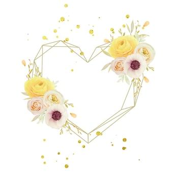 Linda guirlanda floral com ranúnculo de rosas em aquarela e flores de anêmona