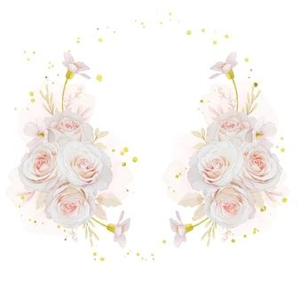 Linda guirlanda floral com rosas em aquarela