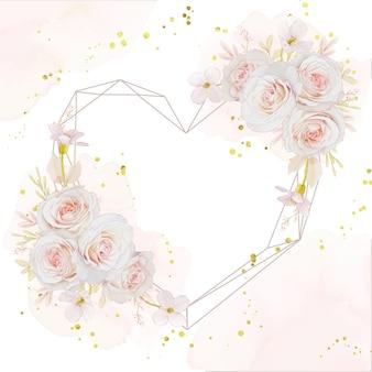 Linda guirlanda floral de amor com rosas em aquarela