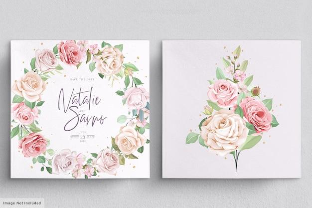 Linda guirlanda floral e buquê com flores elegantes