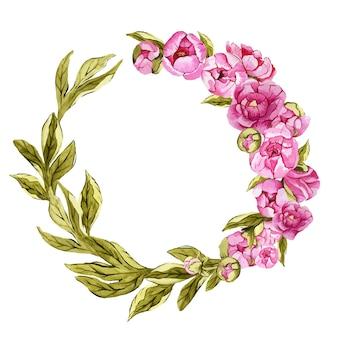 Linda guirlanda floral redonda em aquarela com peônias