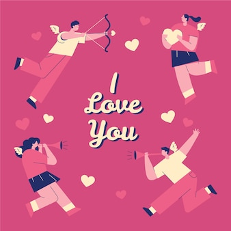 Linda ilustração com eu te amo letras