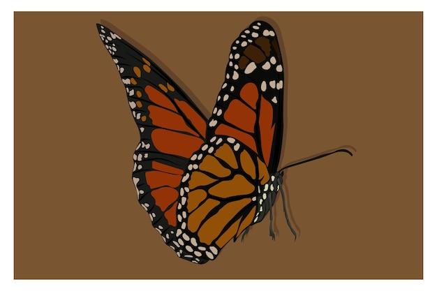 Linda ilustração de borboleta laranja na foto como se estivesse na parte de trás