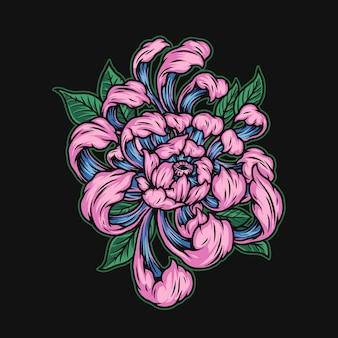 Linda ilustração de flor de crisântemo japonês em estilo vintage isolada