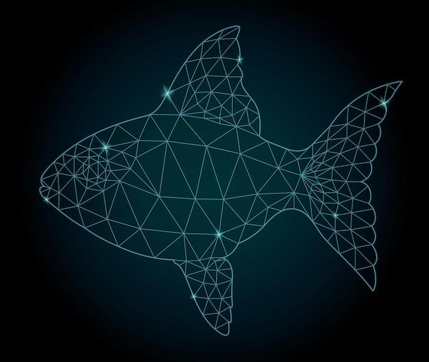 Linda ilustração estrelada de baixo poli com uma silhueta estilizada de peixe brilhante no fundo escuro
